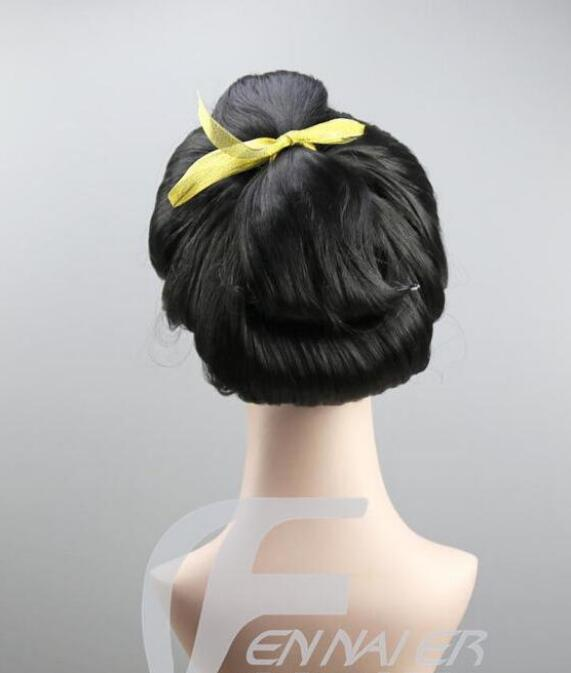 Jewelry Wig Hot Sell Cosplay women's New Black Geisha Wig Full Wigs Plate Hair Anime Wig Free Shipping(China)