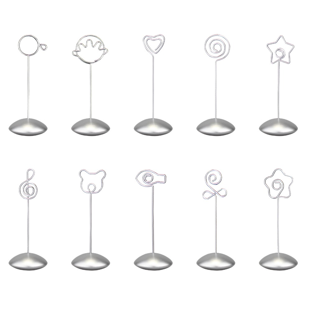 Silver flying disc stand craft wire picture memo photo