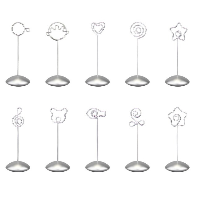Silver flying disc stand craft wire picture memo photo clip holder ...