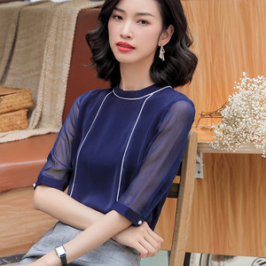 Image 3 - 高品質ファッション夏の女性のシャツ2019新五分袖ルーズシフォンブラウスol気質オフィス女性のプラスサイズは