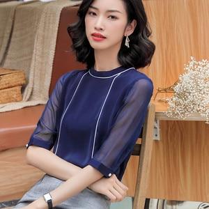 Image 3 - High Quality Fashion Summer Women Shirt 2019 New Half Sleeve Loose Chiffon Blouse OL Temperament Office Ladies Plus Size Tops