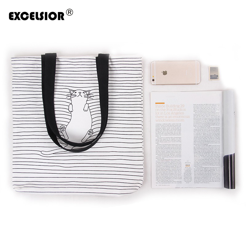 EXCELSIOR Cute Striped Napping Cat Cotton Canvas Handbags Eco Daily Female Single Shoulder Shopping Tote Women Beach Bags cartoon printed casual tote fashion women canvas beach bag female canvas handbag daily use single shoulder shopping bags