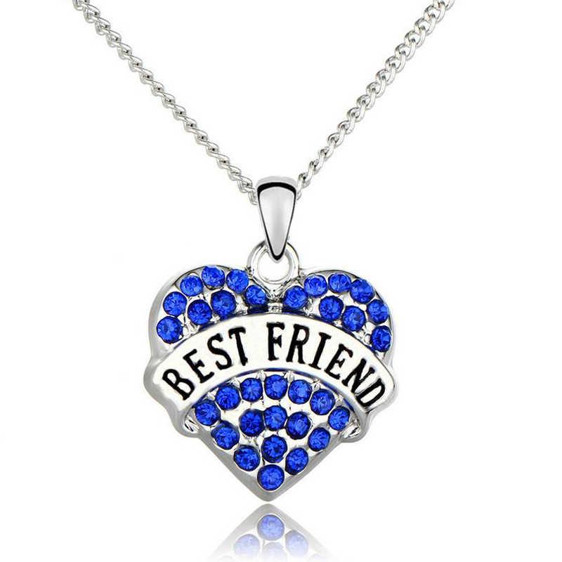 Kristal kalp kolye Best Friends hediyeler DIY dostluk harfler kolye kadınlar için hediye