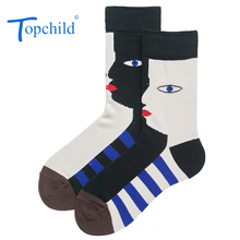 Topchild funny Creative art face Winter Thick Warm Jacquard Socks Casual Hombre Business Male comfortable high quality big size