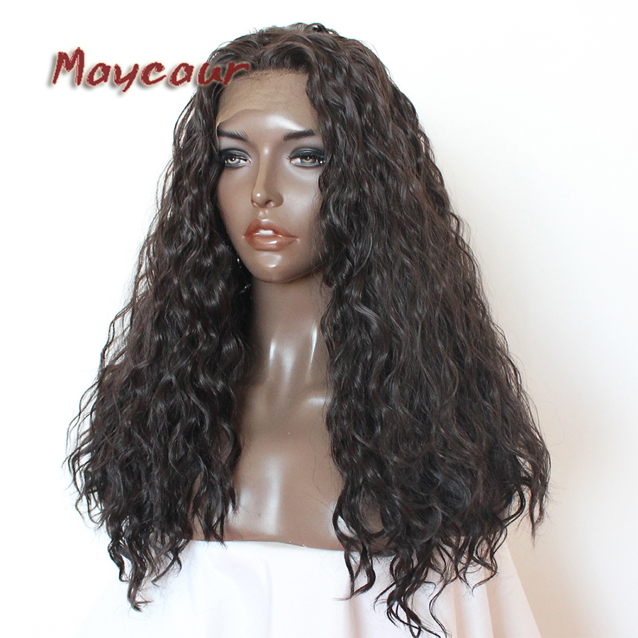 Maycaur Fiber Hair #5 Loose Curly Wigs Glueless Heat Resistant Synthetic Lace Front Wigs With Baby Hair For Women Free Shipping