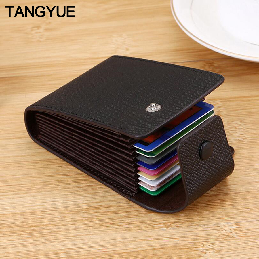 TANGYUE Men Credit Card Holder Leather Purse for Cards Case Wallet for Credit ID Bank Card Holder Women Cardholder and Coins image