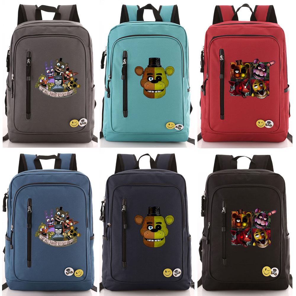 Halloween Cartoon Games Five Nights At Freddys Boy Girl School Bag Women Zip Bagpack Teenagers Schoolbags Men Student Backpack
