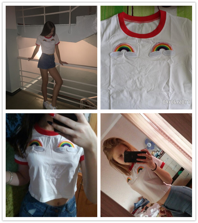HTB1sAZsRFXXXXbIXXXXq6xXFXXXw - Rainbow Patch Embroidered Crop Tees Summer PTC 128