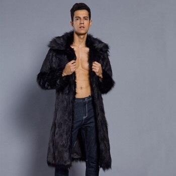 Male Winter Autumn Imitation Mink Coat Large Size Square Collar Man Faux Fur Coats Solid Color Mens Fur Outcoats Clothes