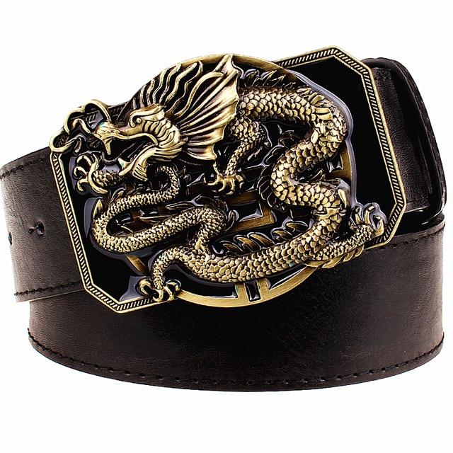 c6cab3665d0 Moda cinto de fivela de metal cintos correia dos homens flying dragon  dragão dourado totem cinto