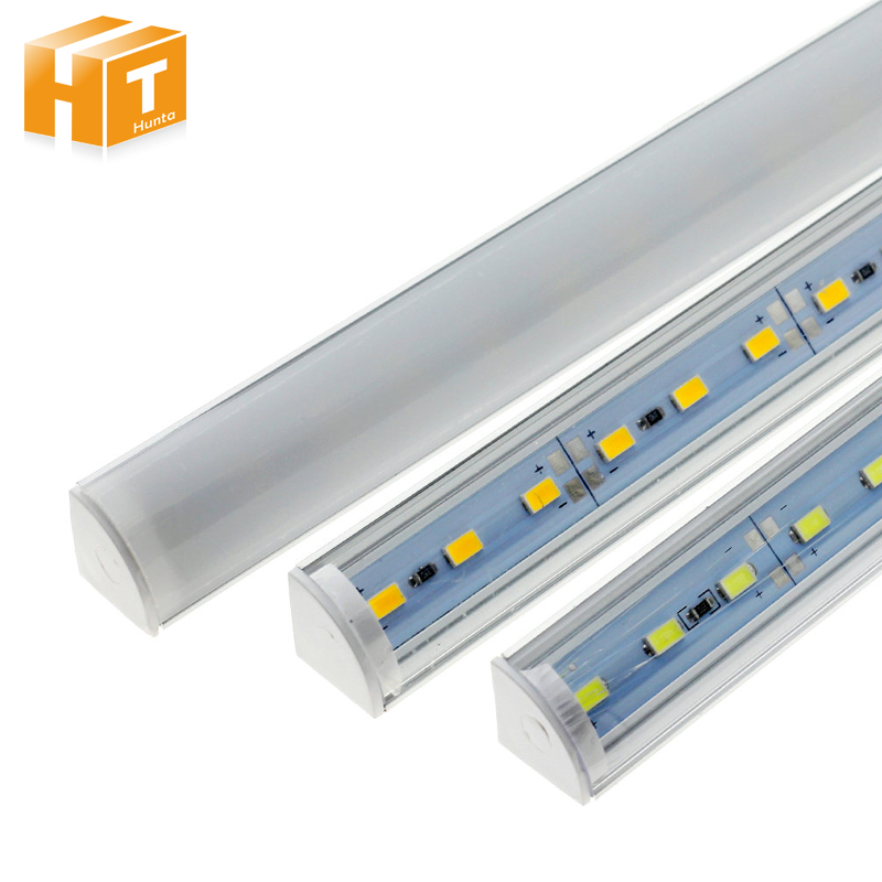 5Pcs/lot Wall Corner LED Bar Light DC 12V 50cm SMD 5730 Rigid LED Strip Light For Kitchen Under Cabinet 5pcs lot high light dual chip 8520 smd led rigid light clear milky cover led bar light strip dc 12v 5a power supply adapter