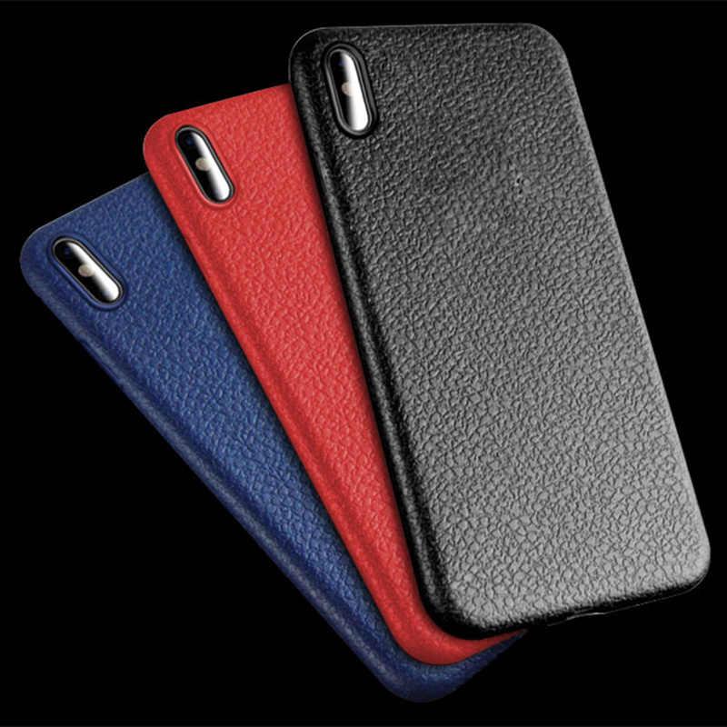 سوبر لينة الهاتف حقيبة لهاتف أي فون XS ماكس XR الفاخرة والجلود نمط حقيبة لهاتف أي فون 6 6s 7 8 Plus X 5s SE غطاء سيليكون أسود