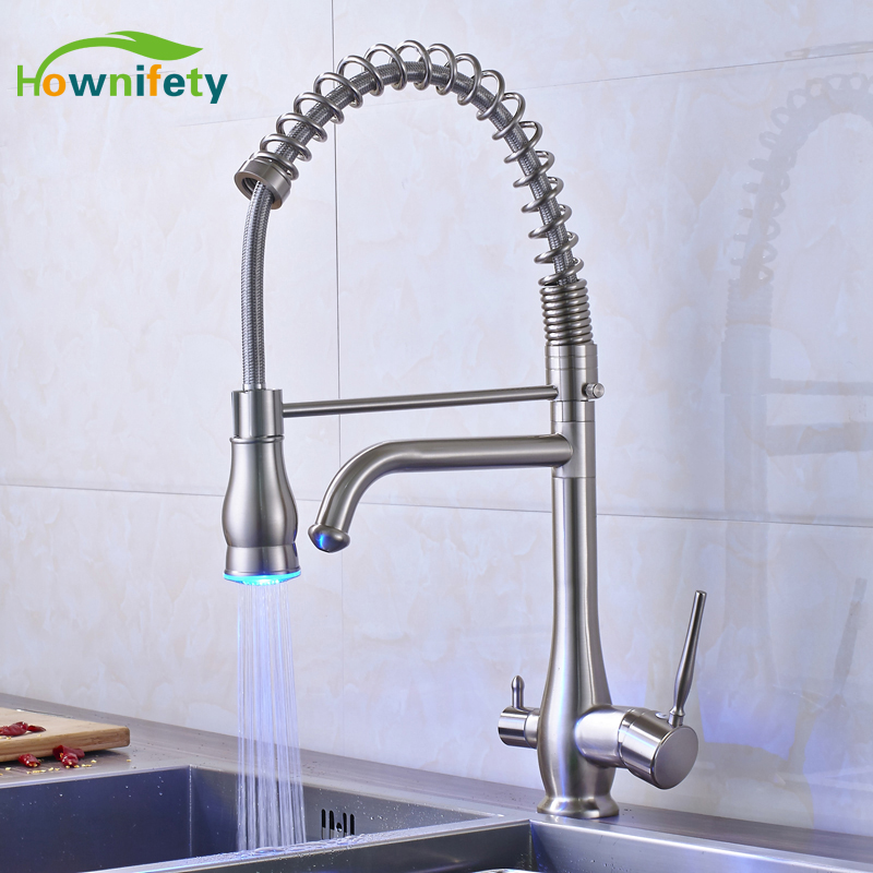 LED Kitchen Sink Faucet Solid Brass Pure Water Mixer Tap 360 Degree Rotate Nickel Brushed everso solid brass kitchen faucet double spouts 360 degree