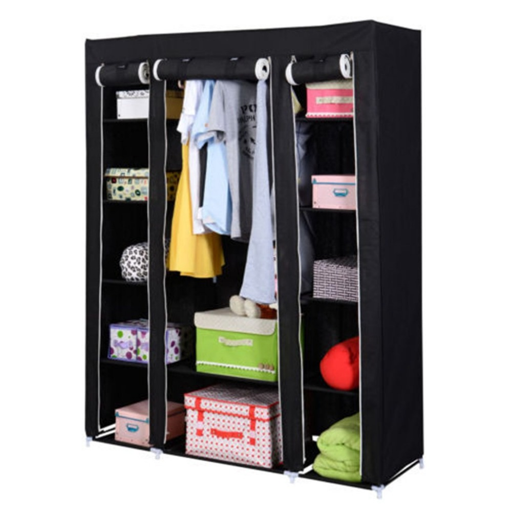 Black Steel & Non-Woven Fabrics Large Storage Capacity 53 Folding Closet Wardrobe Clothes Rack Storage Organizer With Shelves 5pcs collapsible non woven fabrics material folding flat storage organizer for car