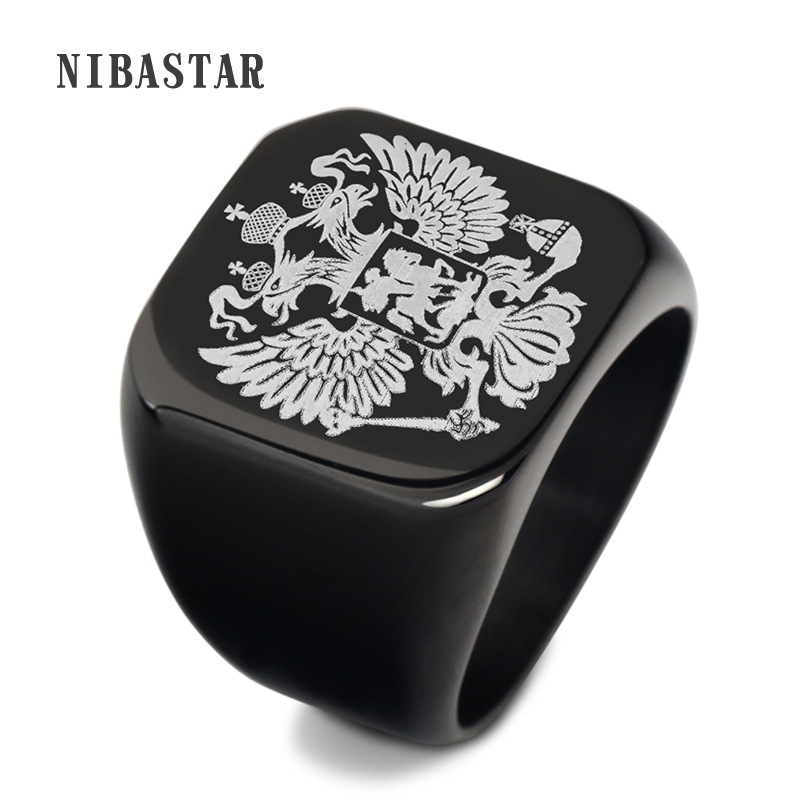 steel soldier double eagle ring men ring fashion jewelry for men a coat of arms of the R ...