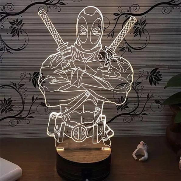 Marvel Anti-Hero Дэдпул лампа 3D иллюзия Декор лампы настроение лампочки для детей деревянные База белый красный зеленый синий фиолетовый изменить