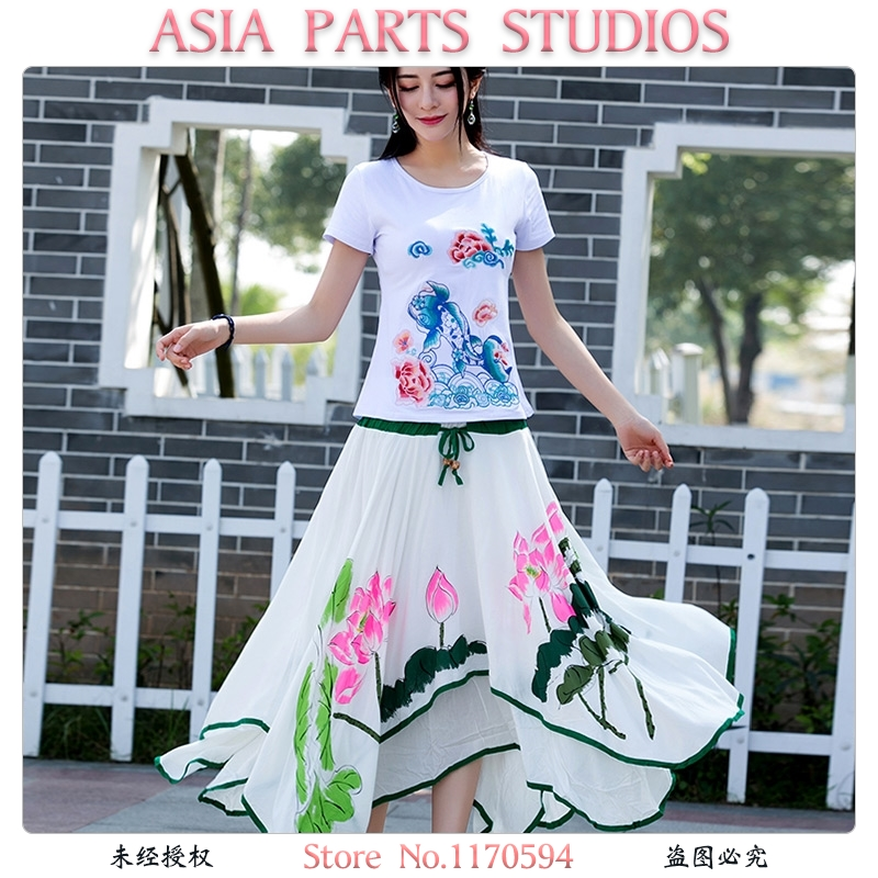 Aisa Parts Studios Women's Casual Retro/Fairy Asymmetrical Loose Skirt Lotus/Floral/Print Ankle-length Mid Rise Layered Lace Up #35