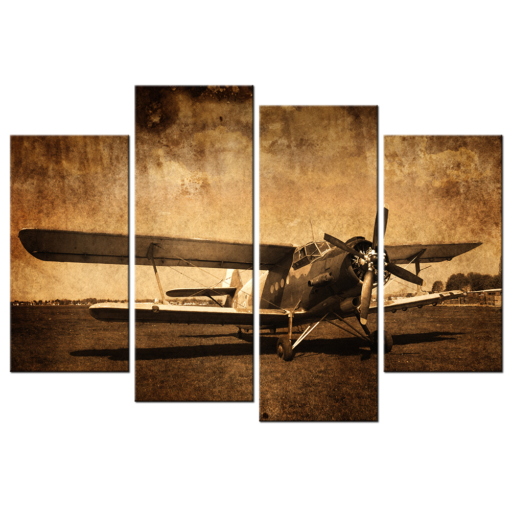 Canvas prints vintage aircraft art old plane picture wall for Retro wall art