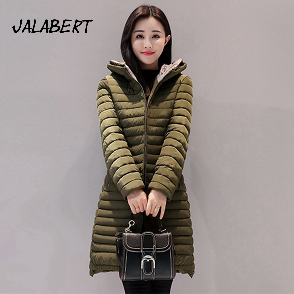Ukraine Direct Selling Full Zipper 2017 New Woman Winter Clothing Female Long Jacket Slim Hooded Coat Cotton Solid Zippers