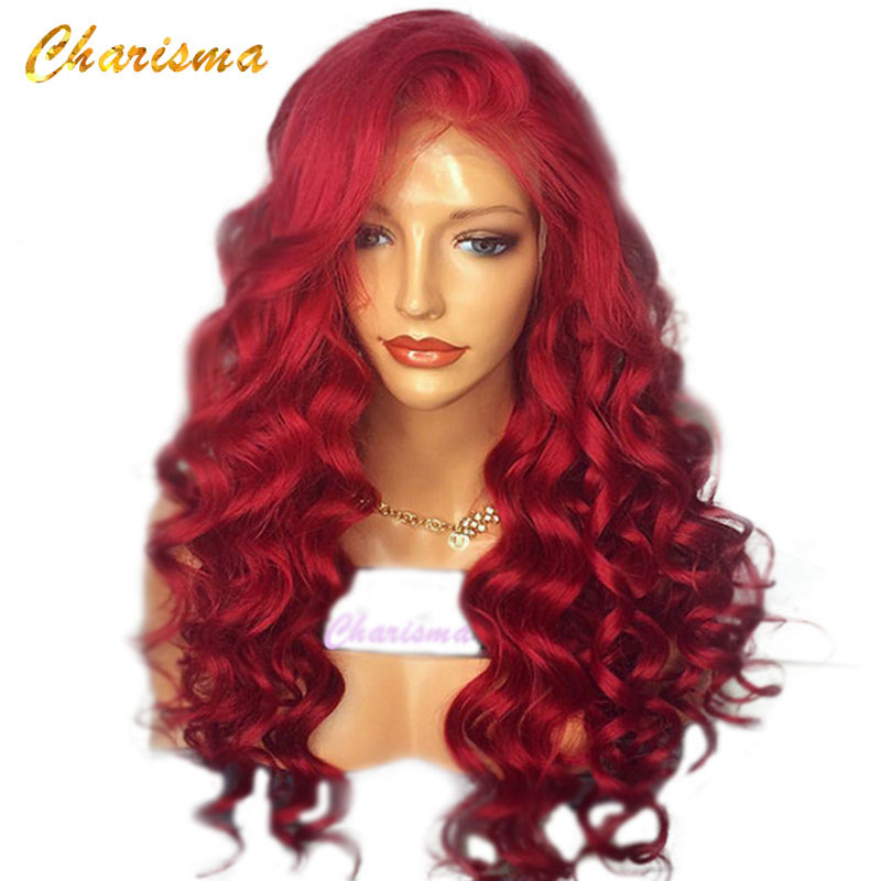 Charisma Hair Red Wig 26 Inches Long Body Wave Synthetic Lace Front Wig For Women Natural Hairline Lace Front Wigs