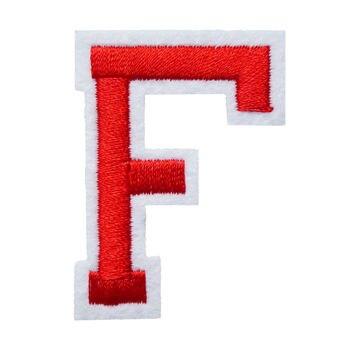 F letra tela roja alfabeto coser parches bordados insignias para ropa DIY apliques artesanía decoración pegatina