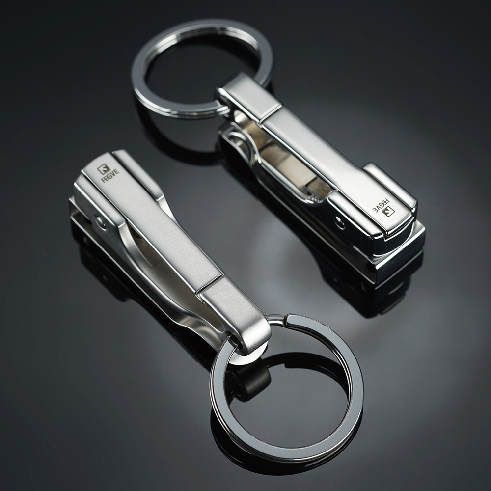 Image 2 - 304 Stainless Steel Car Key Chain Belt Waist Hanging Simple High Quality Men KeyChain Buckle Key Ring Holder Fathers Day GiftKey Chains   -