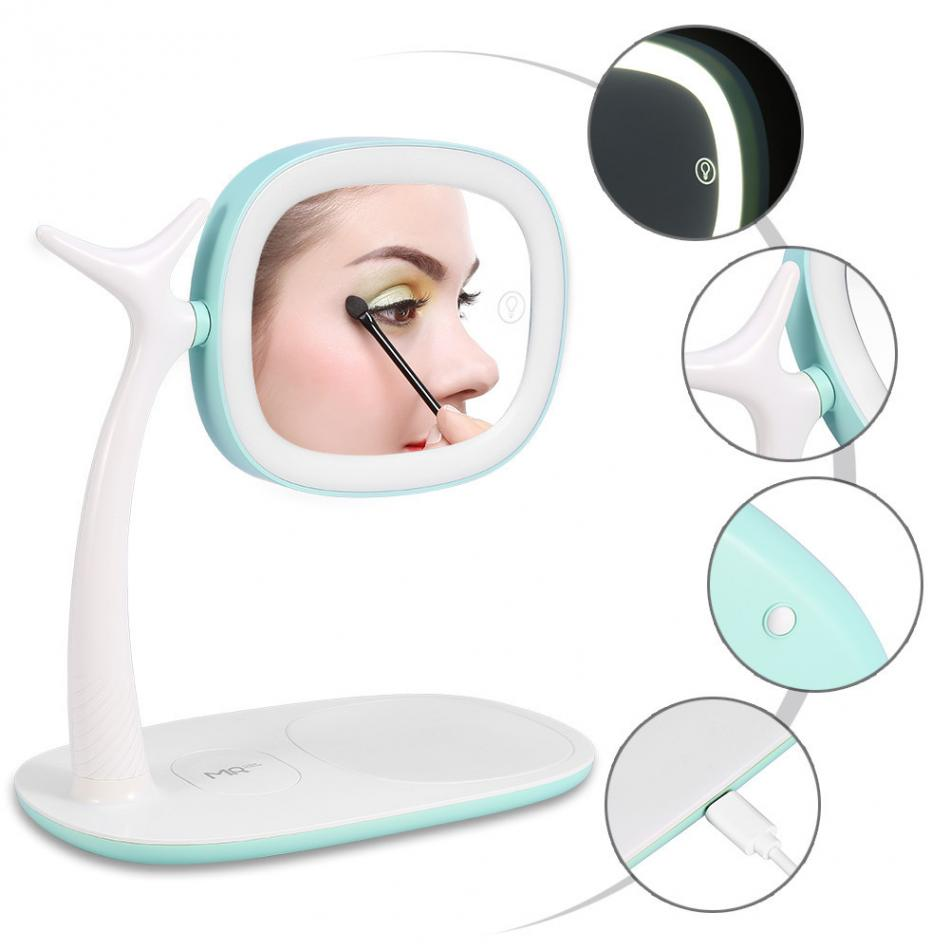 Makeup Tool Kits maquiagem Smartphone Wireless Charge LED Lamp Mirror Touch Screen USB Charging Makeup Mirror Cosmetics Tools usb led makeup mirror maquiagem double sided wireless charge for phone led touch screen amplifier make up mirror cosmetics tool