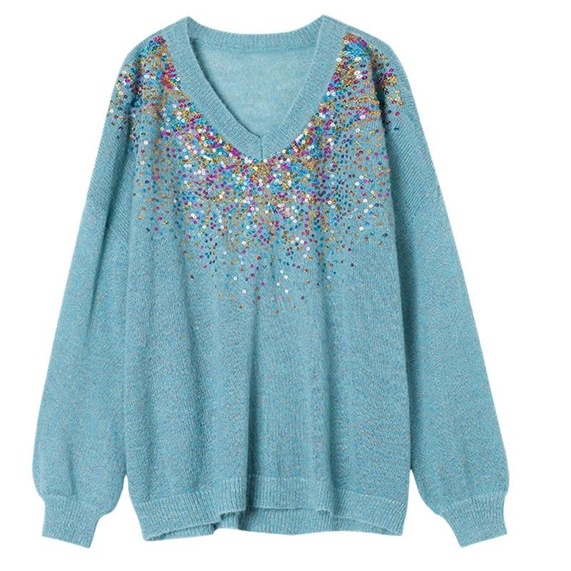 Mujeres Las Suéter Amygu Llegada De Blue En Cuello Oficina Cordón Dama V Sleeeved Nueva Punto Camisas U7qSwvC