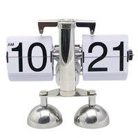 1 peça 2 couleur Design moderne automatique Flip horloge de bureau pour la maison et le bureau de Table décorative horloge ( noir et blanc )