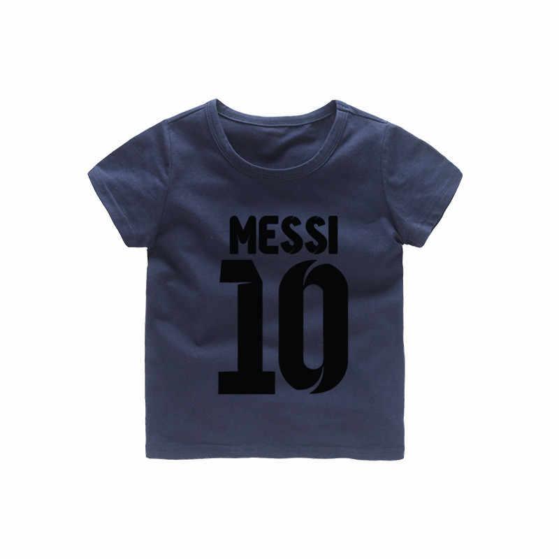 2-12 T dibujos animados cuello redondo Messi 10 Camiseta de algodón ropa de verano camiseta para niños Tops niños ropa de manga corta