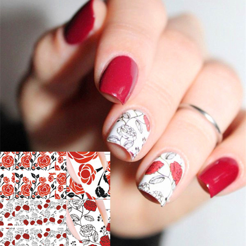 BORN PRETTY Red Rose Flower Nail Art Water Decals Transfer Sticker 2 Patterns/Sheet BP-W06 #20597 oc 08 diy 3d red wine bottle patterns decorative diy nail art sticker black red