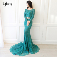 Elegant Long Sleeves Teal Turquoise Beading Sequin Mermaid Evening Dress Sheath Fitted Custom Made Womens Formal