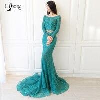 Elegant Dài Tay Áo Teal Turquoise Beading Sequin Mermaid Evening Dress Vỏ Bọc Fitted Custom Made Womens Trang Phục Chính Thức Maxi Gowns Chic