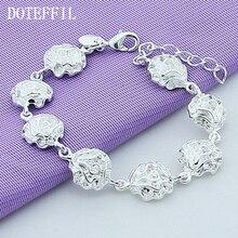 Rose Flower Bracelet Silver 925 Jewelry Valentine's Day Gift Summer High Quality Web Fashion Wedding Bracelet Jewelry недорого