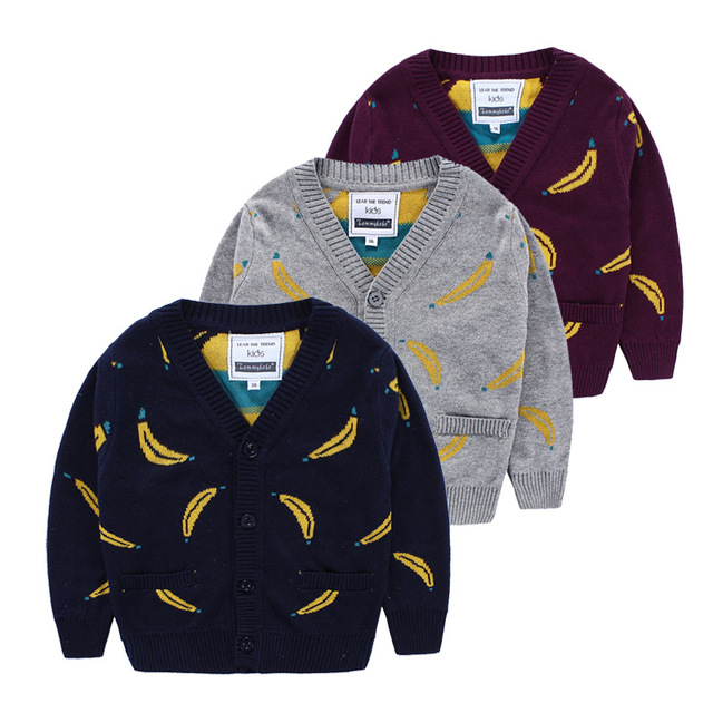 2016 New Girl Boys sweater kids Bobo choses Banana pattern Knit Pullover Classic style children's winter cardigans sweater