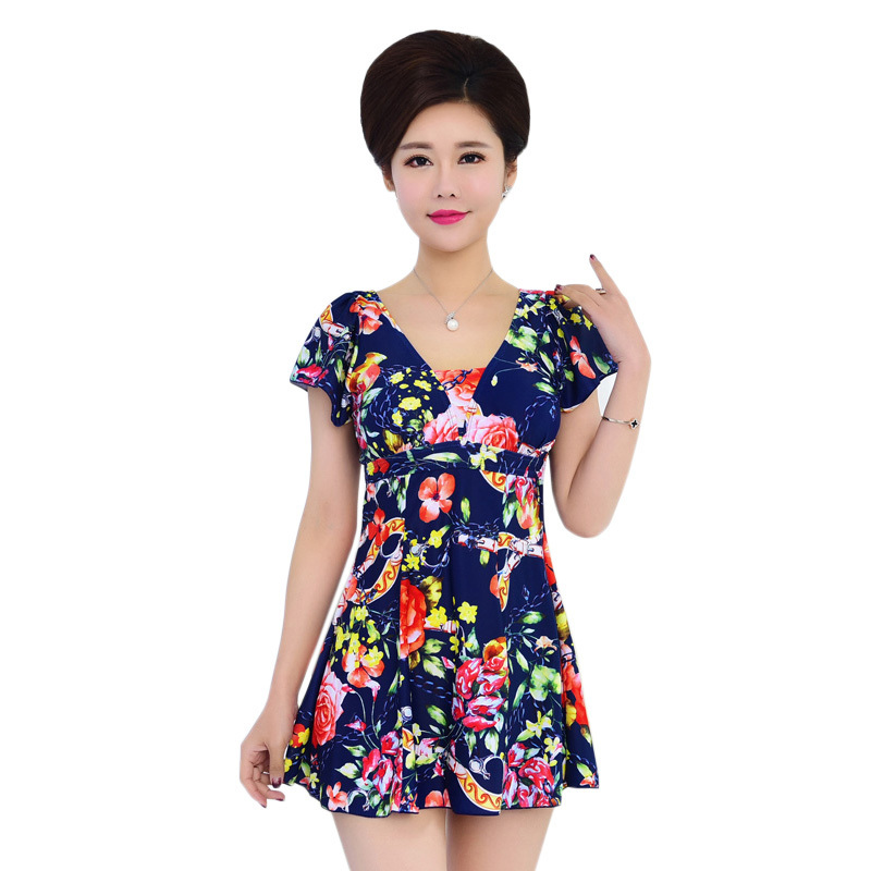 Swimsuit Women 2018 Summer Ladies Swim Dress Short Sleeve Slim Skirt Bathing Suit Leotard Modest One Piece Swimsuit Plus Size женское платье summer dress 2015cute o women dress