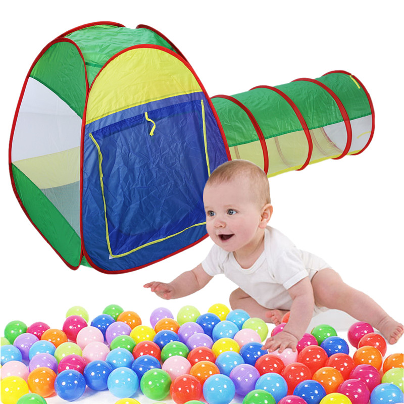 Baby Playing House Storage Tent Toy Cubby-Tube-Teepee 3pcs Pop-up Play Tent Children Tunnel Kids Outdoor Adventure House Toy