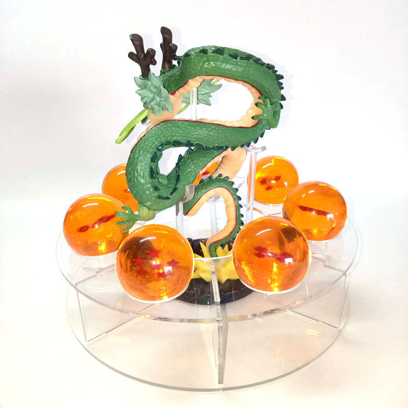 Dragon ball Shenron action figures Anime esferas del dragon+7pcs 3.5cm PVC balls+shelf mountain background model toys L024