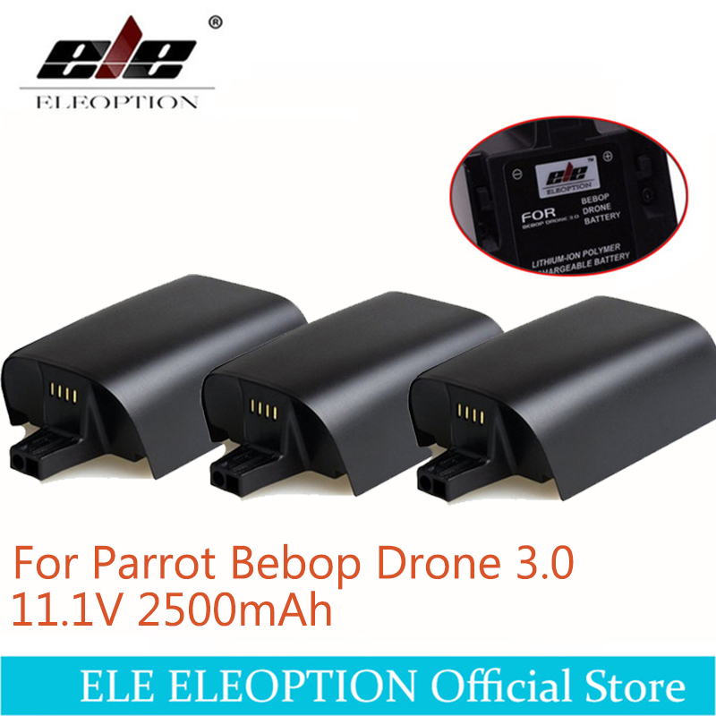 ELE ELEOPTION 3PCS 2500mAh 11.1V Battery For Parrot Bebop Drone 3 2.5AH High Capacity Upgrade Battery For Parrot Bebop Drone 3.0 parrot bebop drone skycontroller yellow