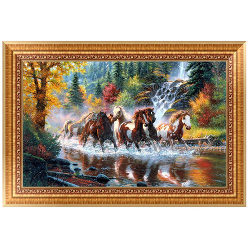 DIY 5D Running Horses Diamond Embroidery Painting Cross Stitch Craft Home Decor 56*35cm