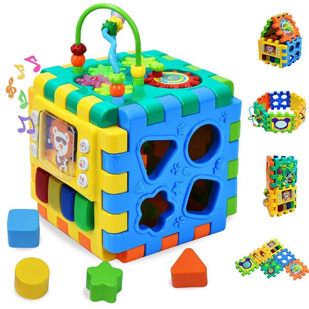 6 en 1 multi-usages bloc de construction jouet enfants couleur trieur perles labyrinthe temps d'apprentissage horloge amélioration des compétences jeu éducatif jouet