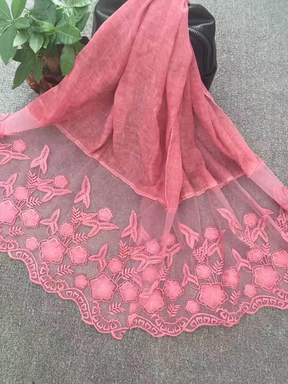 high quality lace floral luxury cotton scarf design hijab ladies muslim Muffler wrap long scarves scarf