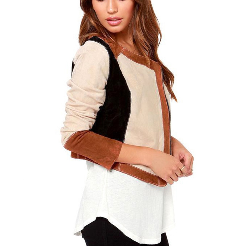 Otoño señora de manga larga de lana corta cremallera de la chaqueta chaquetas Outwear