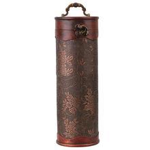 Caja de regalo de almacenamiento de botellas de vino Vintage de madera Retro cilíndrica estuche protector de botella tapón mantiene la caja para almacenamiento fresco de vino