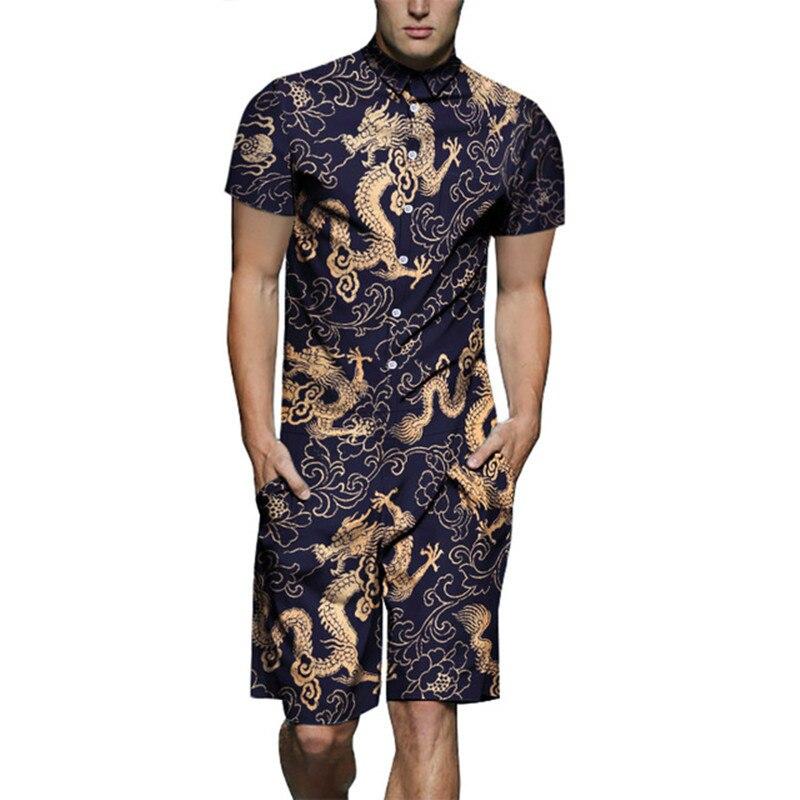 Jumpsuit Men Summer Short Sleeve Rompers Dragon Print Cotton One Piece Overalls Playsuits Pants Male Short Set Clothes Plus Size