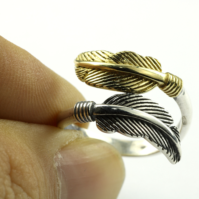 925 Sterling Silver Feather Ring 5