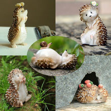 Cute Artificial mini hedgehog miniatures fairy garden gnomes moss terrarium resin crafts home decorations Gift for children(China)