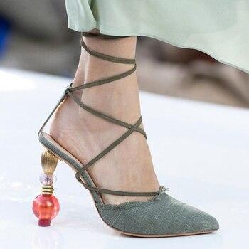 Beads Heel Fahion Women Sandals Cross-tied Lac-up Back Strap Woman Summer High Heels Geometric Heel Leather Wedding Sandalias