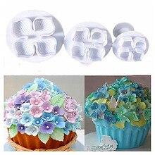TTLIFE 3Pcs/set Flower Cake Fondant Cookie Cutter Decorating Craft Paste Plunger Mold Pastry Tools
