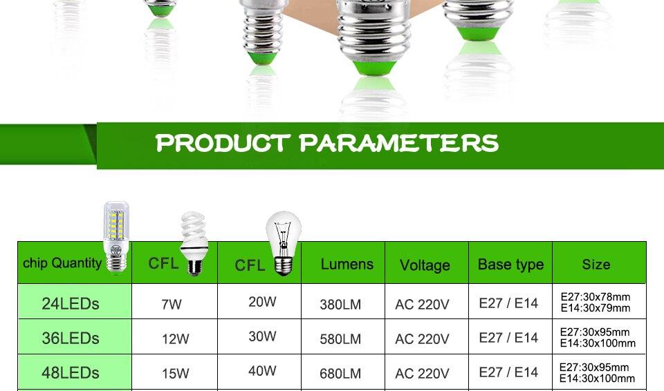 E27 LED Bulb E14 LED Lamp 220V 24 36 48 56 69 72LEDs Bombillas Ampoule LED E27 E14 Corn Light Bulbs For Home Chandelier Lighting (2)